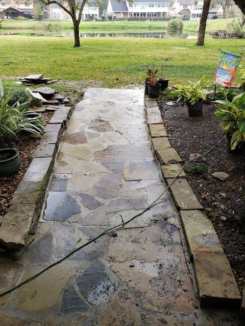 professional flagstone patio installation by Helms Landscape