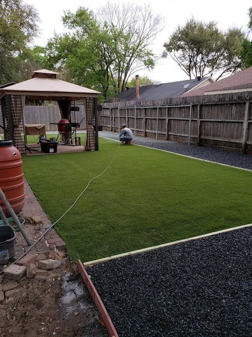 backyard landscaping installation by Helms Landscape