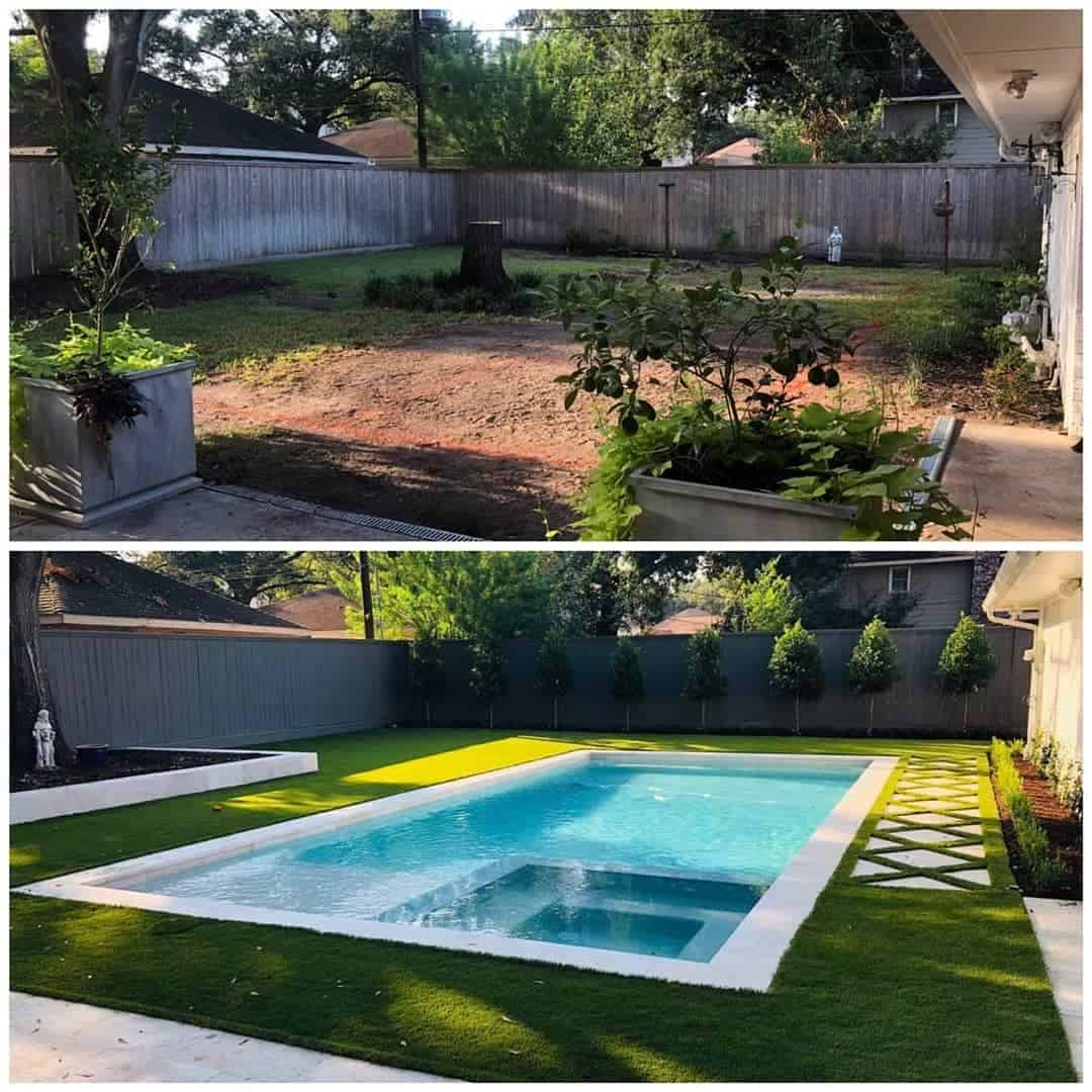 back yard before and after
