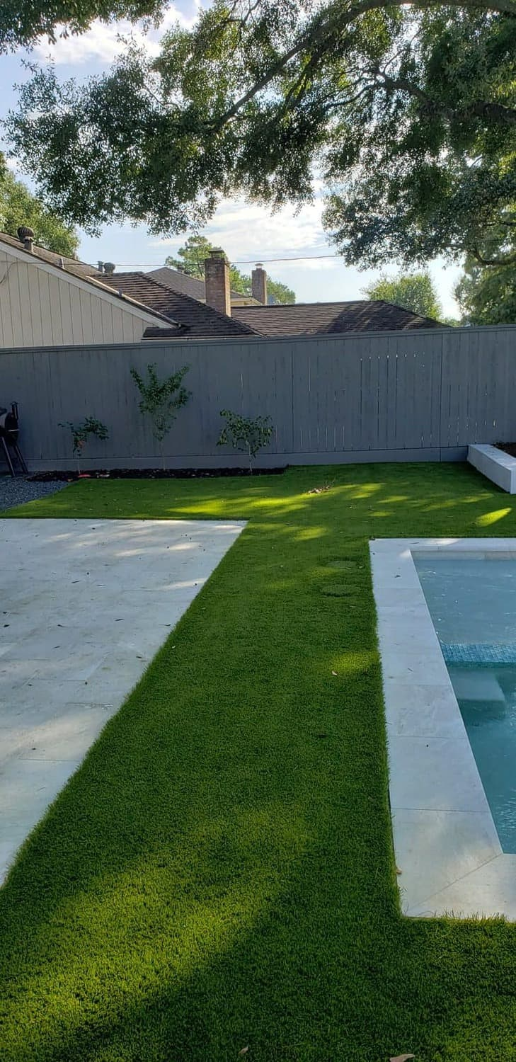 synthetic lawn perfectly placed in backyard