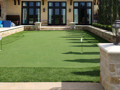 luxurious backyard putting green area landscape