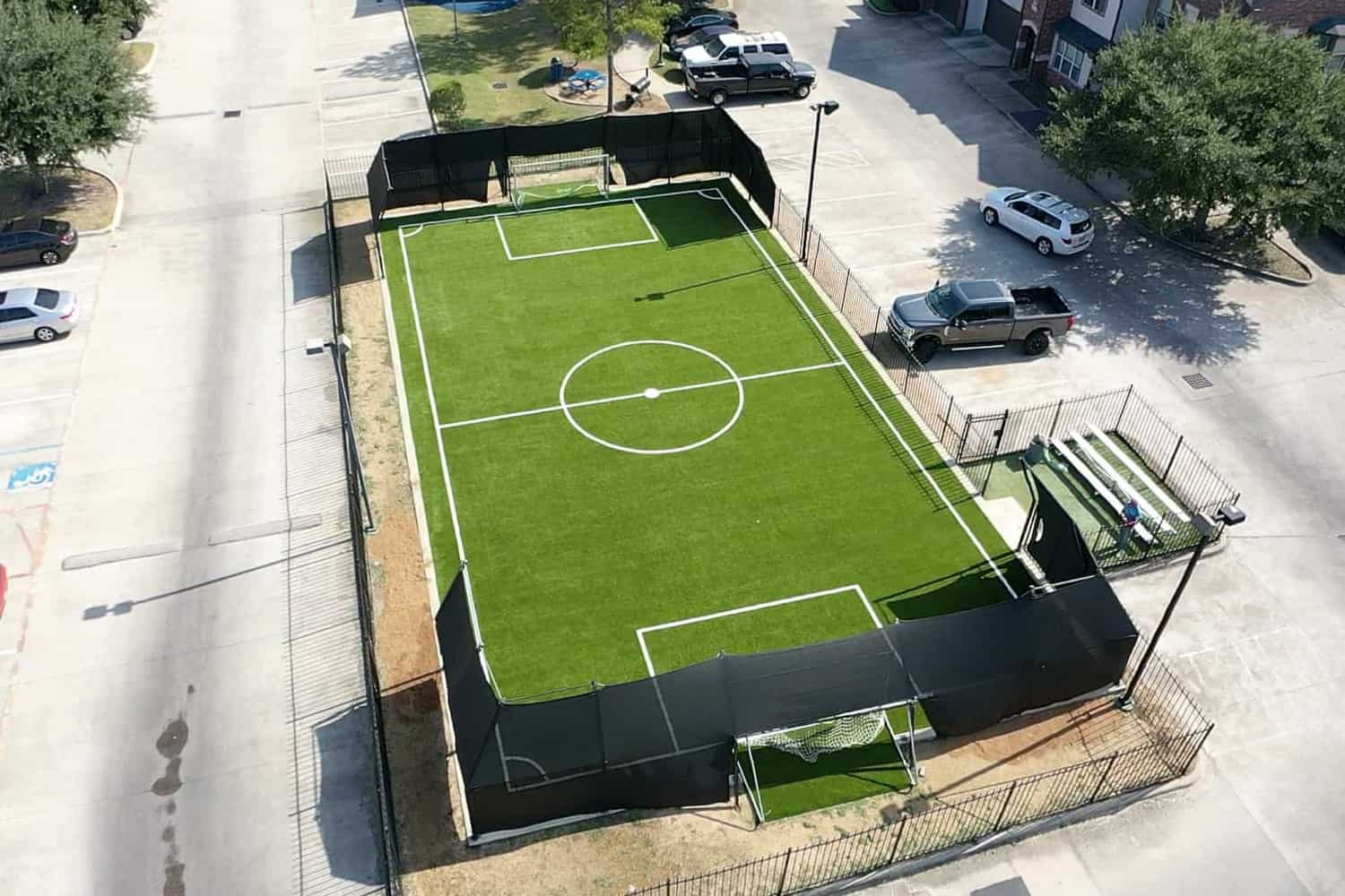 over head view of a artificial soccer field